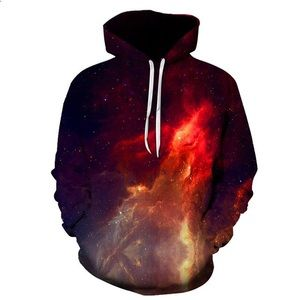 Jackets & Blazers - Red Nebula 3D Galaxy Space Pullover Hoodie
